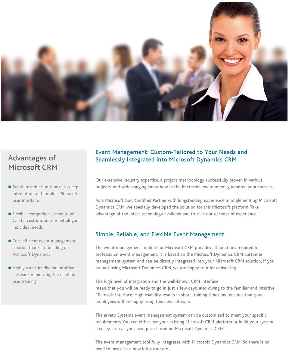 Custom-Tailored to Your Needs and Seamlessly Integrated into Microsoft Dynamics CRM Our extensive industry expertise, a project methodology successfully proven in various projects, and wide-ranging