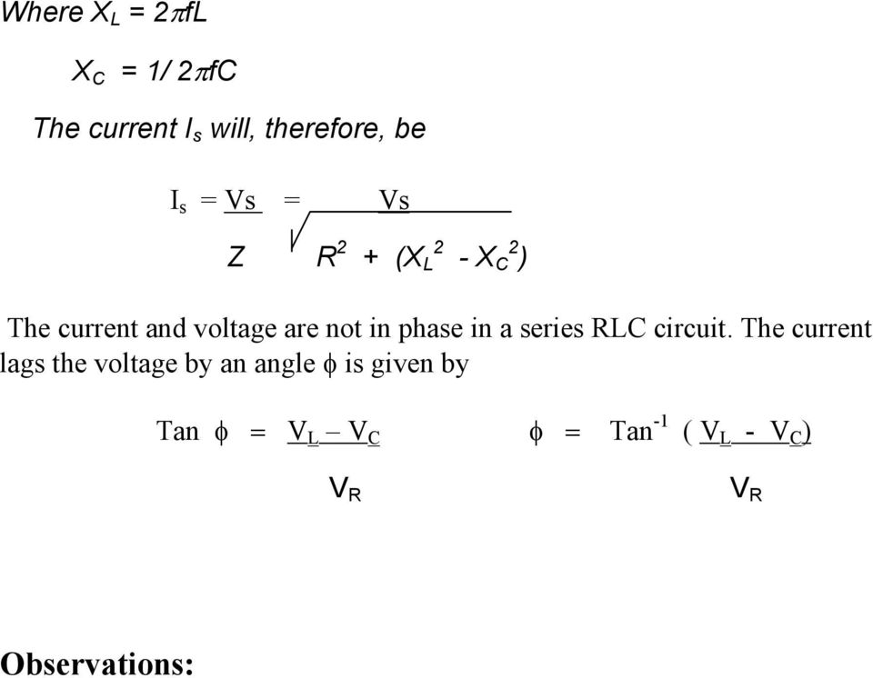 phase in a series RLC circuit.