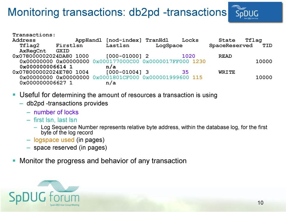 0x000001999600 115 10000 0x000000006627 1 n/a Useful for determining the amount of resources a transaction is using db2pd -transactions provides number of locks first lsn, last lsn Log Sequence