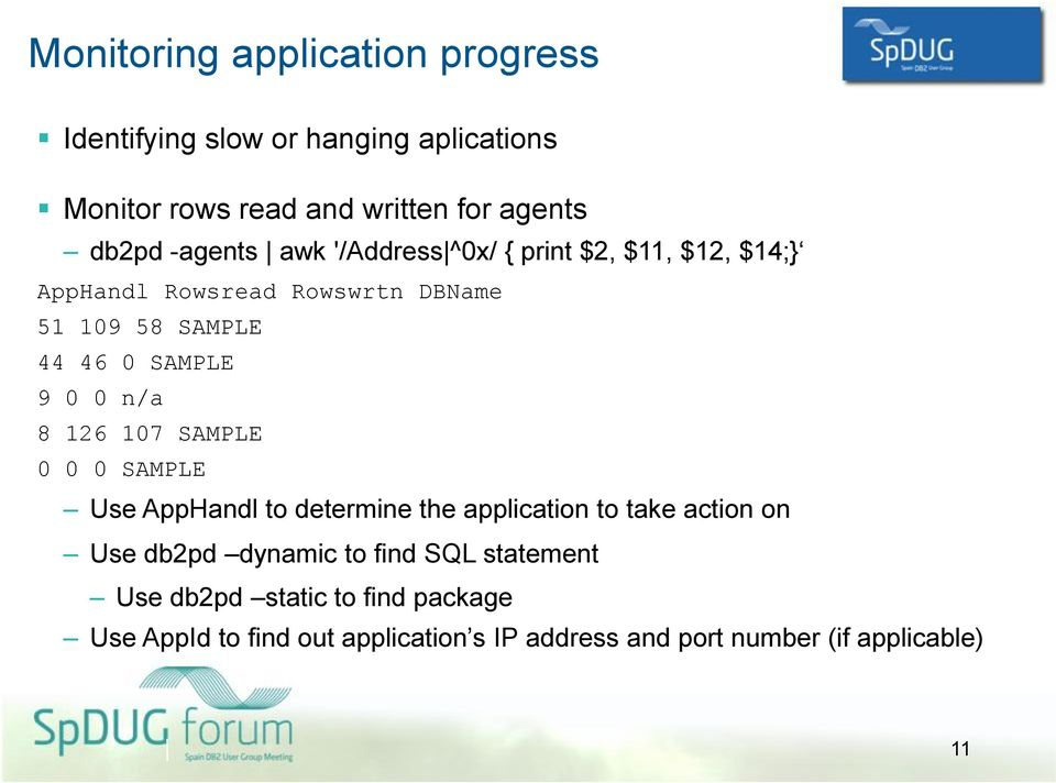 0 0 n/a 8 126 107 SAMPLE 0 0 0 SAMPLE Use AppHandl to determine the application to take action on Use db2pd dynamic to find