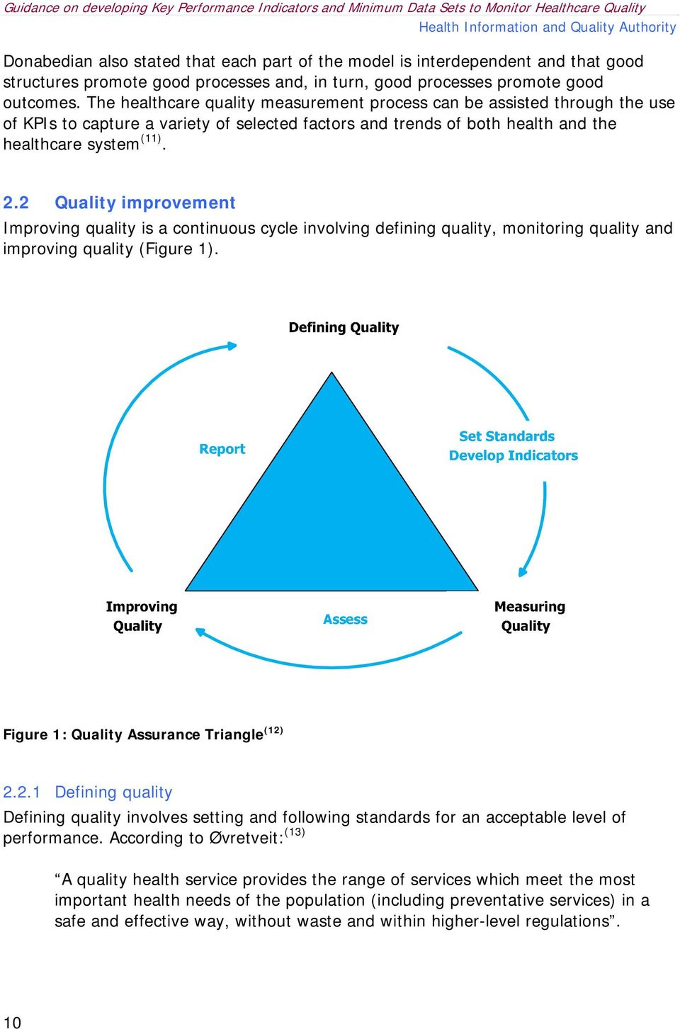 2 Quality improvement Improving quality is a continuous cycle involving defining quality, monitoring quality and improving quality (Figure 1). Figure 1: Quality Assurance Triangle (12) 2.2.1 Defining quality Defining quality involves setting and following standards for an acceptable level of performance.
