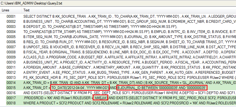 PRODSRCID = 'KK' AND RUser1.ROLEUSER = '00007348') AND EXISTS (SELECT DISTINCT 'X' FROM PS_SEC_PROD_ROLE SCF2, PSROLEUSER RUser2 WHERE A.PRODUCT = SCF2.PRODUCT AND SCF2.ROLENAME = RUser2.