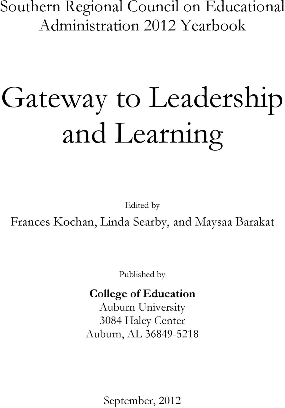 Kochan, Linda Searby, and Maysaa Barakat Published by College of