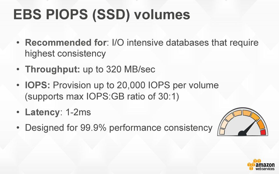 IOPS: Provision up to 20,000 IOPS per volume (supports max IOPS:GB