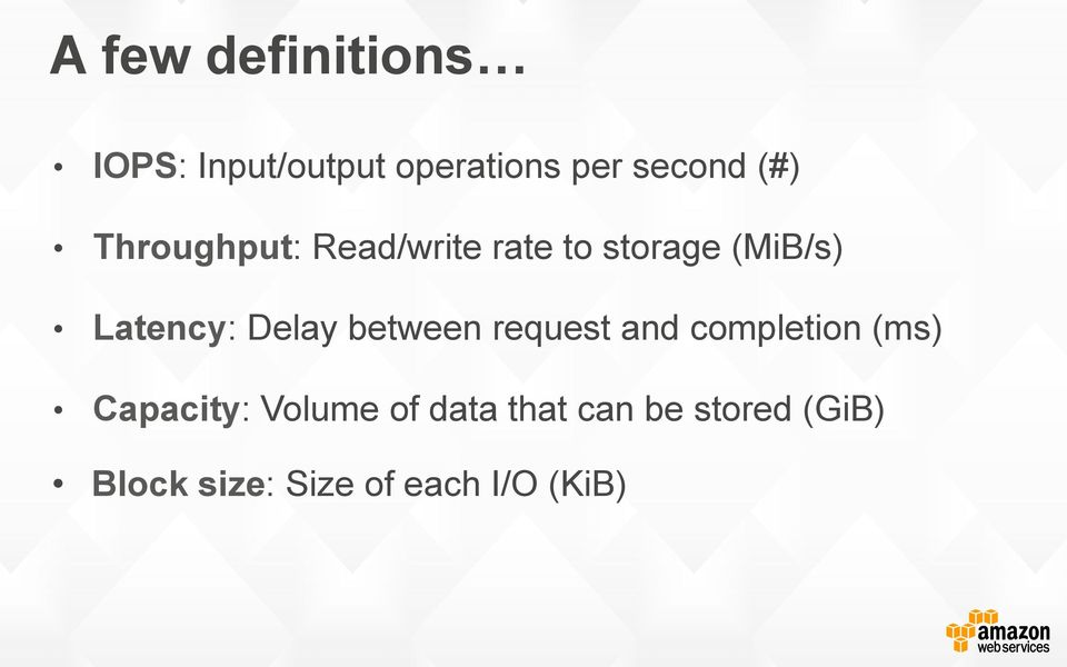 Delay between request and completion (ms) Capacity: Volume of