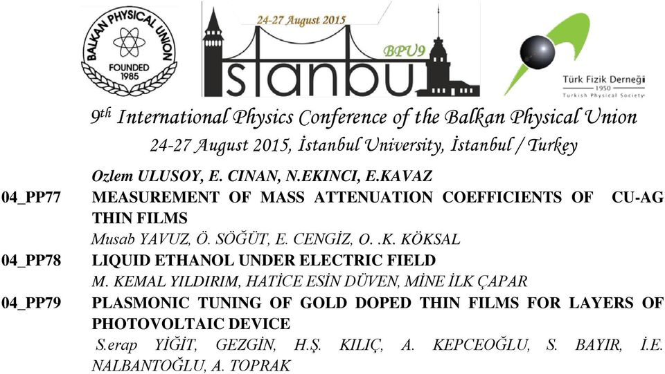 KEMAL YILDIRIM, HATİCE ESİN DÜVEN, MİNE İLK ÇAPAR PLASMONIC TUNING OF GOLD DOPED THIN FILMS FOR LAYERS OF PHOTOVOLTAIC