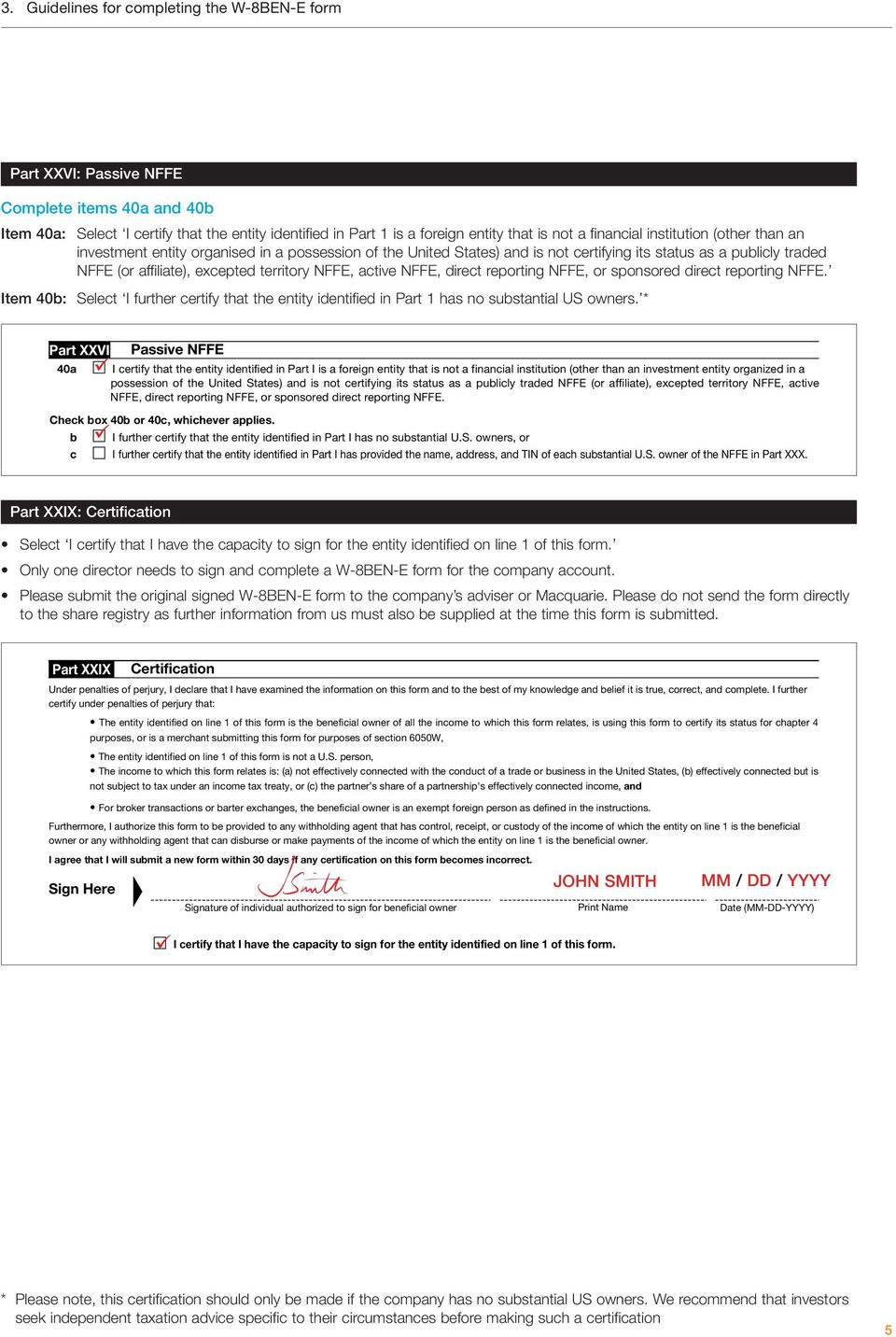 Optionsxpress Australia Instructions For Completing W 8ben