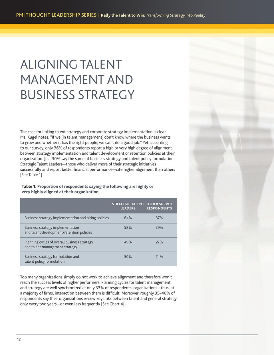 Yet, according to our survey, only 36% of respondents report a high or very high degree of alignment between strategy implementation and talent development or retention policies at their organization.