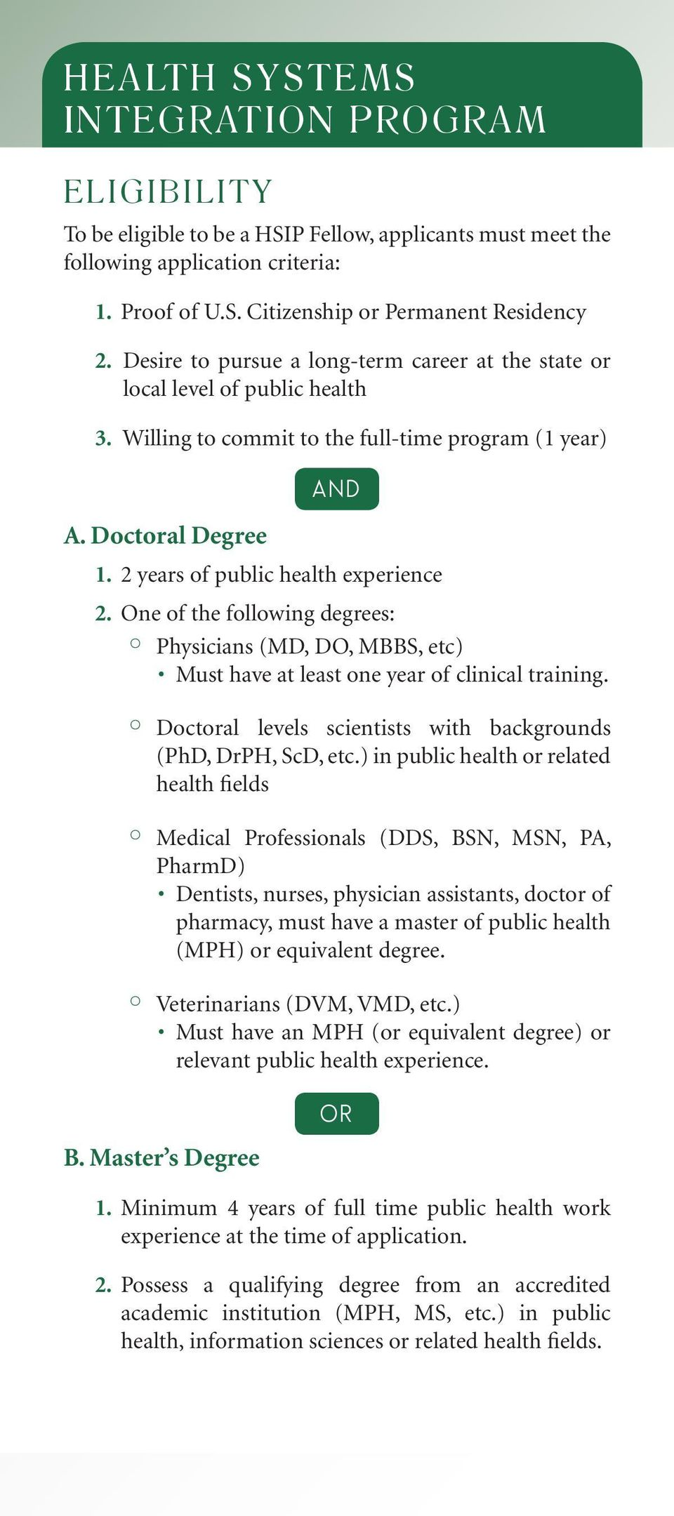 2 years of public health experience 2. One of the following degrees: Physicians (MD, DO, MBBS, etc) Must have at least one year of clinical training.
