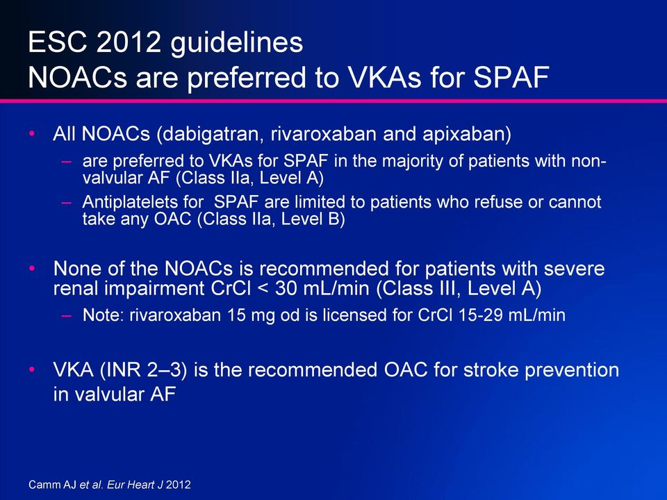 (Class IIa, Level B) None of the NOACs is recommended for patients with severe renal impairment CrCl < 30 ml/min (Class III, Level A) Note: