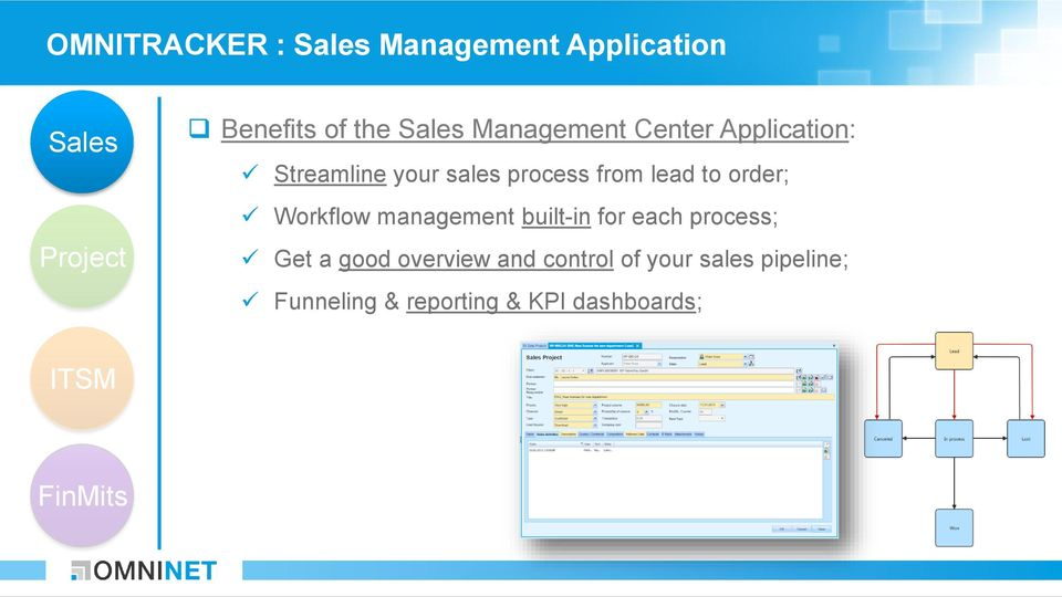 management built-in for each process; Get a good overview and