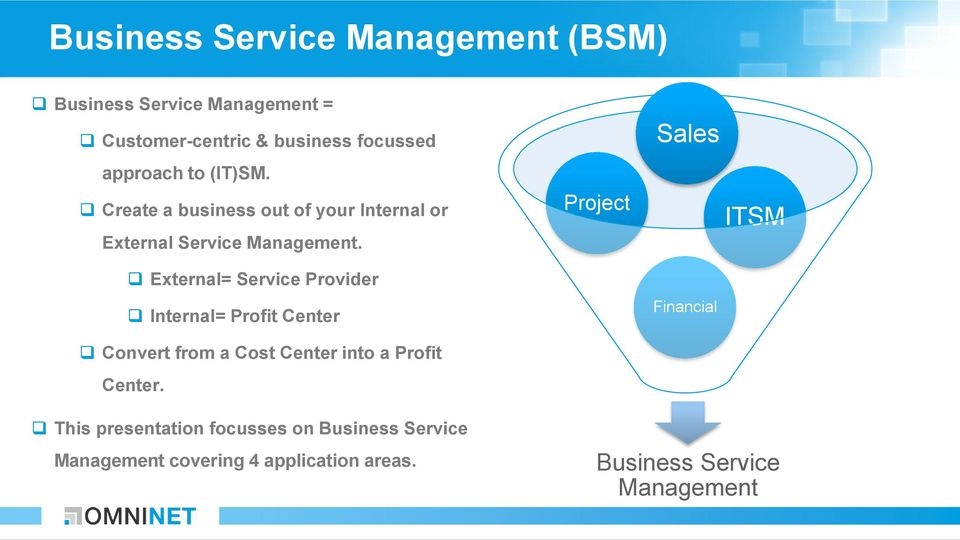 External= Service Provider Internal= Profit Center Convert from a Cost Center into a