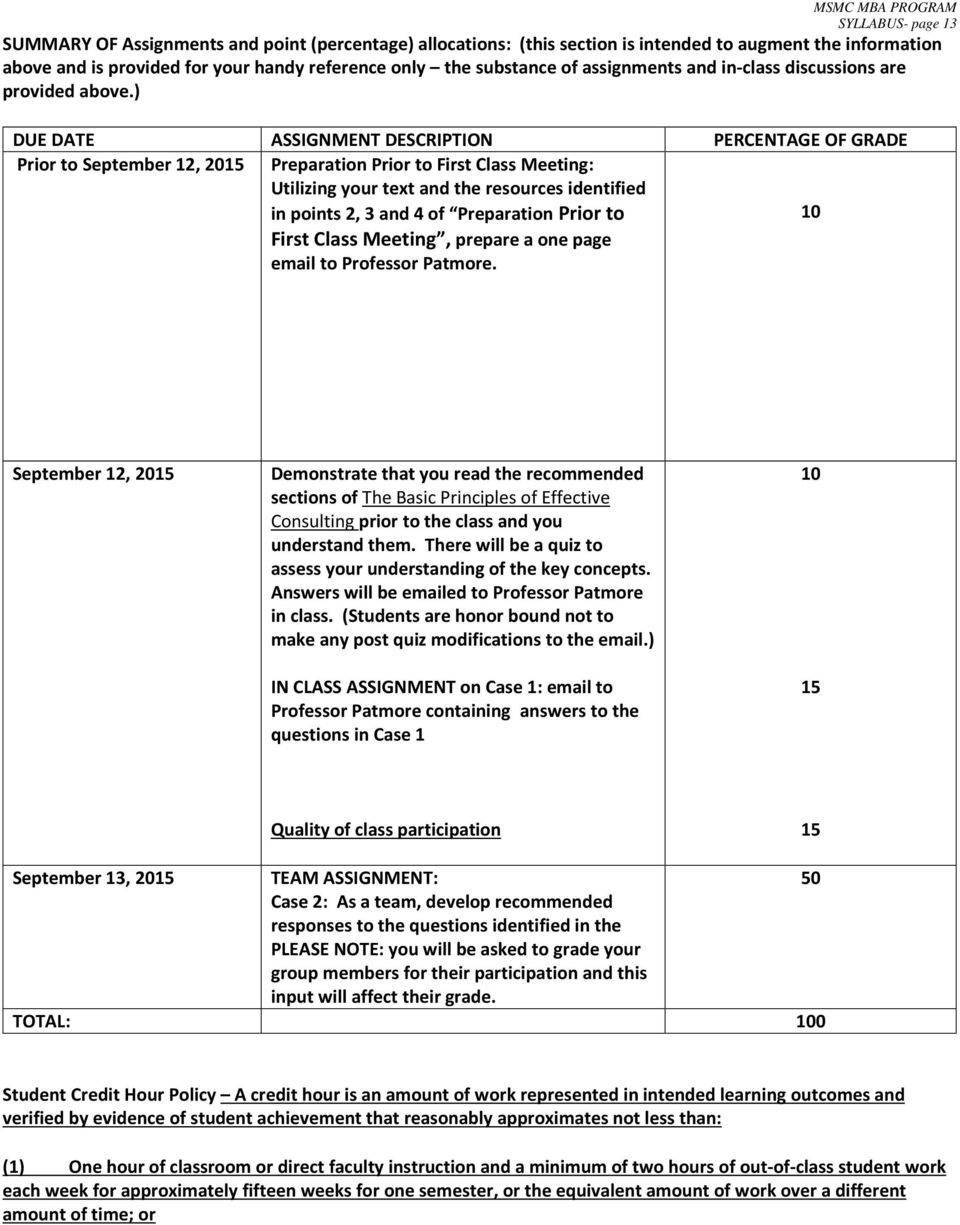) DUE DATE ASSIGNMENT DESCRIPTION PERCENTAGE OF GRADE Prior to September 12, 2015 Preparation Prior to First Class Meeting: Utilizing your text and the resources identified in points 2, 3 and 4 of