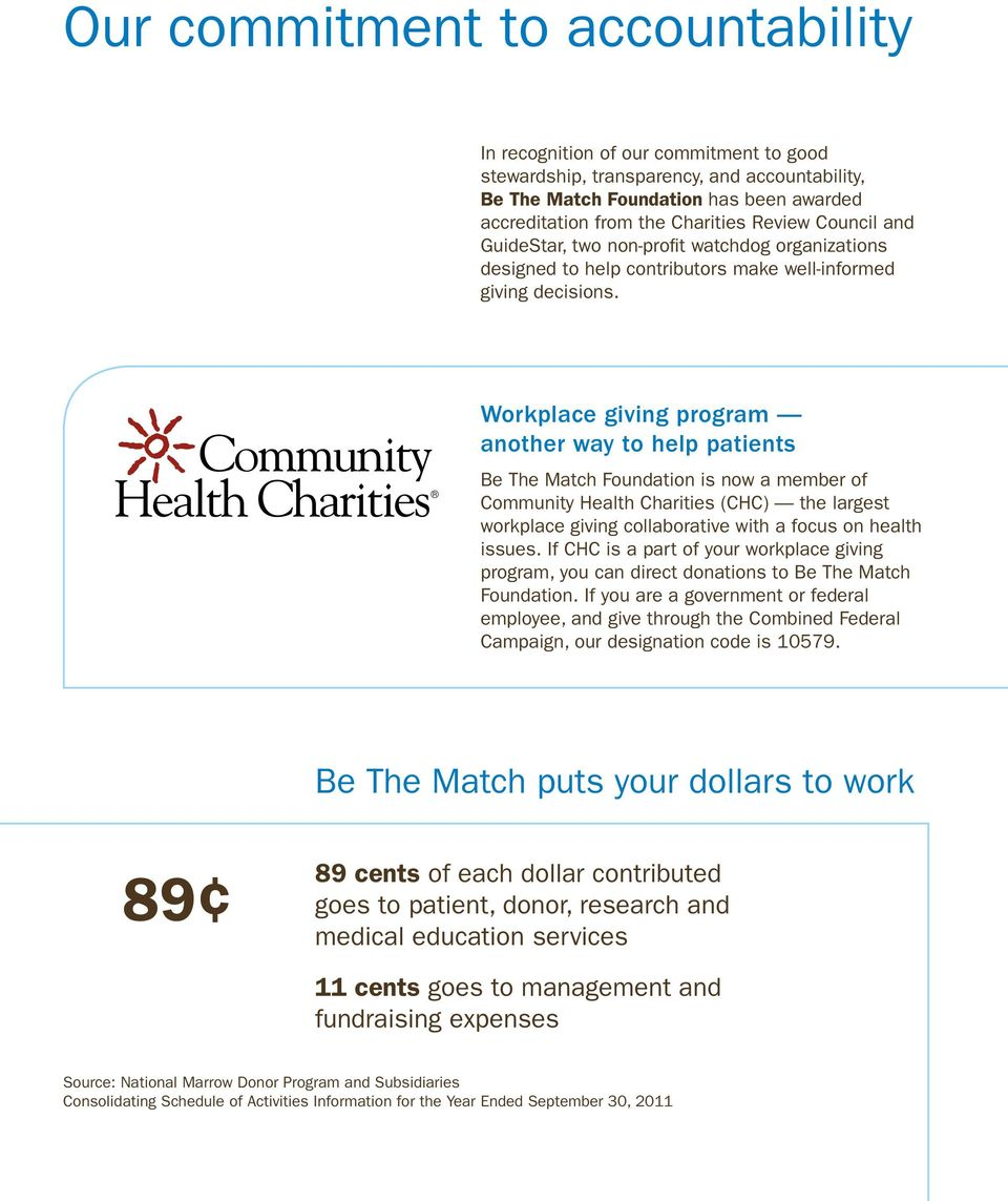 Workplace giving program another way to help patients Be The Match is now a member of Community Health Charities (CHC) the largest workplace giving collaborative with a focus on health issues.