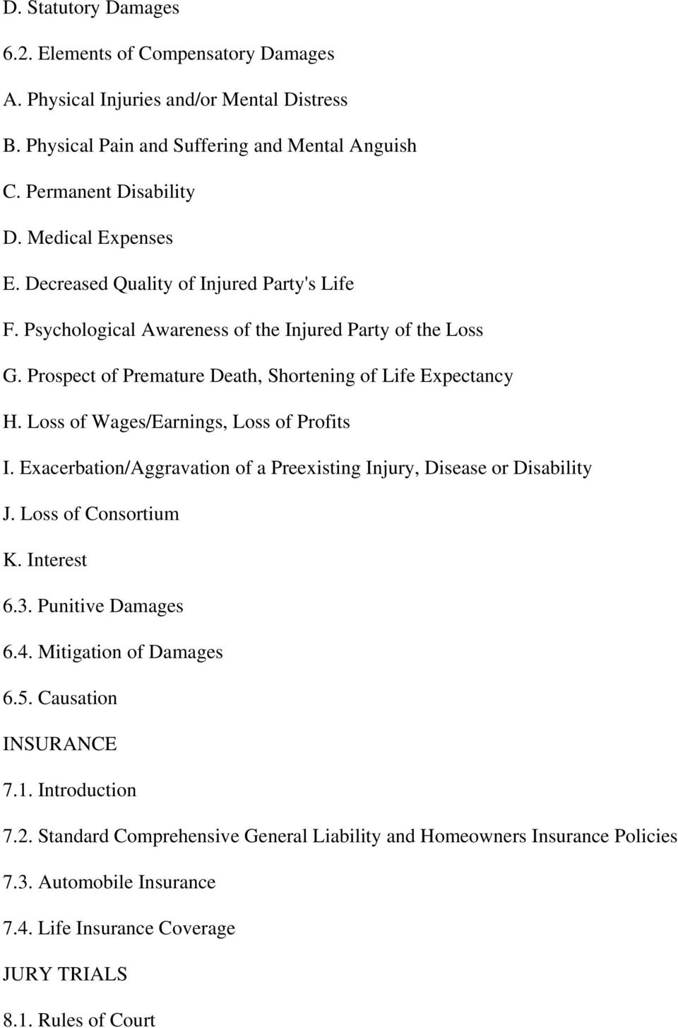 Loss of Wages/Earnings, Loss of Profits I. Exacerbation/Aggravation of a Preexisting Injury, Disease or Disability J. Loss of Consortium K. Interest 6.3. Punitive Damages 6.4.