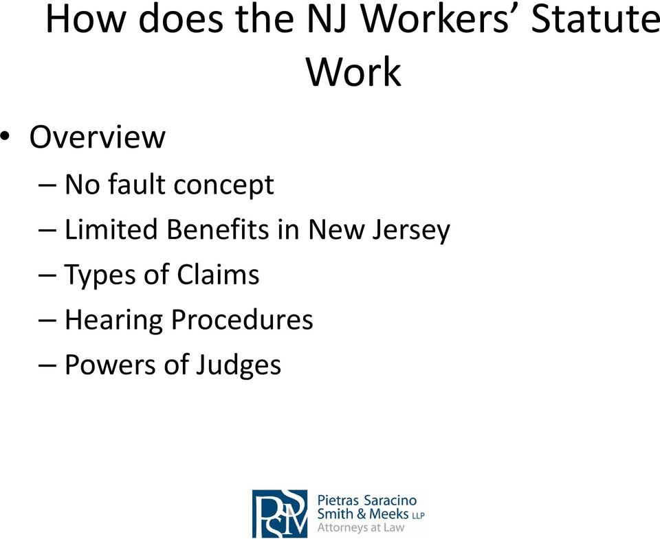 Benefits in New Jersey Types of