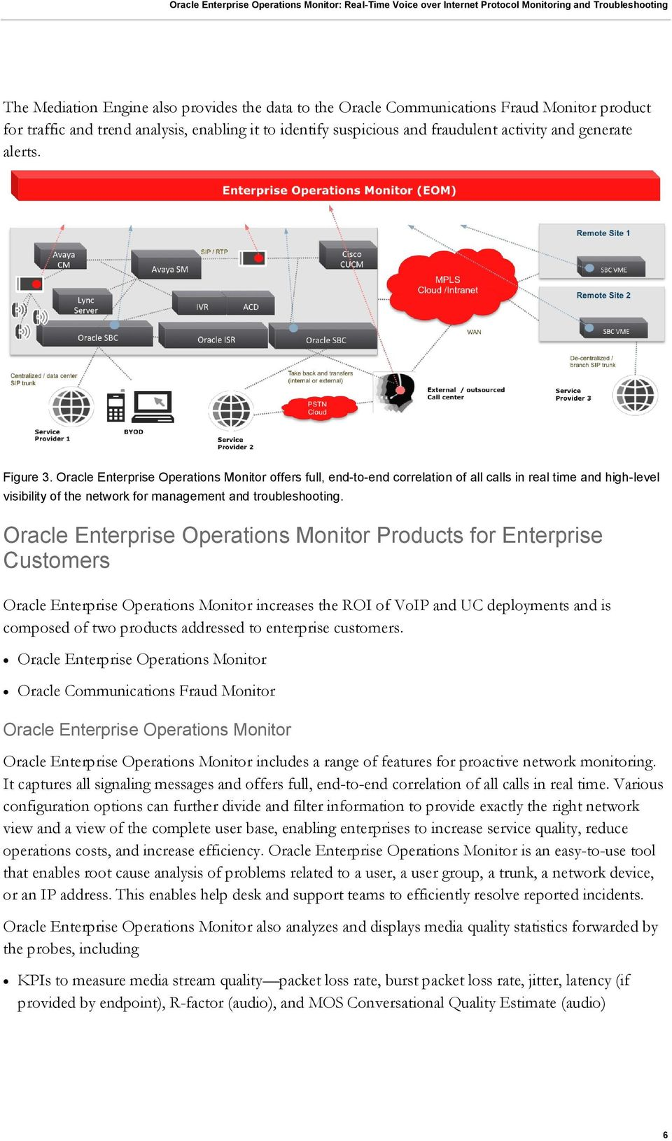 Oracle Enterprise Operations Monitor Products for Enterprise Customers Oracle Enterprise Operations Monitor increases the ROI of VoIP and UC deployments and is composed of two products addressed to