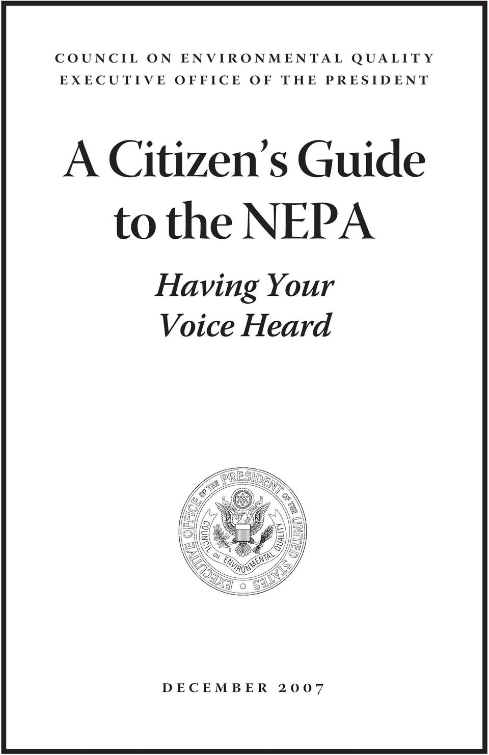A Citizen s Guide to the NEPA