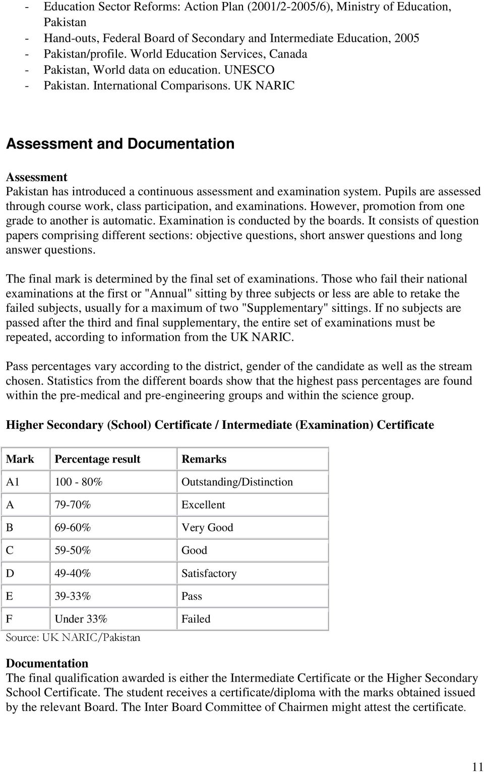 UK NARIC Assessment and Documentation Assessment Pakistan has introduced a continuous assessment and examination system. Pupils are assessed through course work, class participation, and examinations.