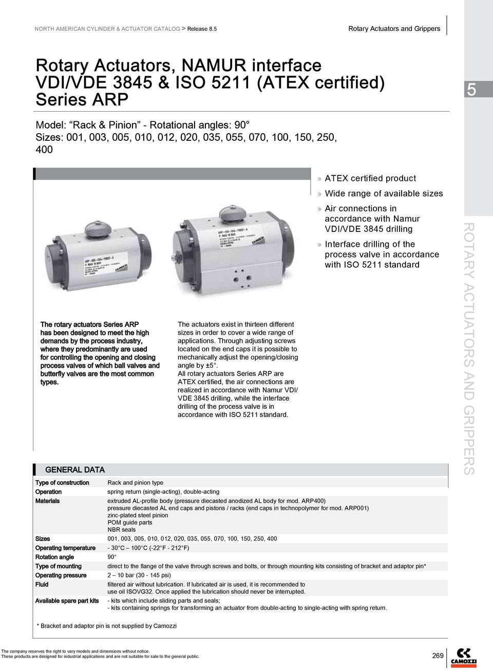 0, 070, 100, 10, 20, 400»» ATEX certified product»» Wide range of available sizes The rotary actuators Series ARP has been designed to meet the high demands by the process industry, where they