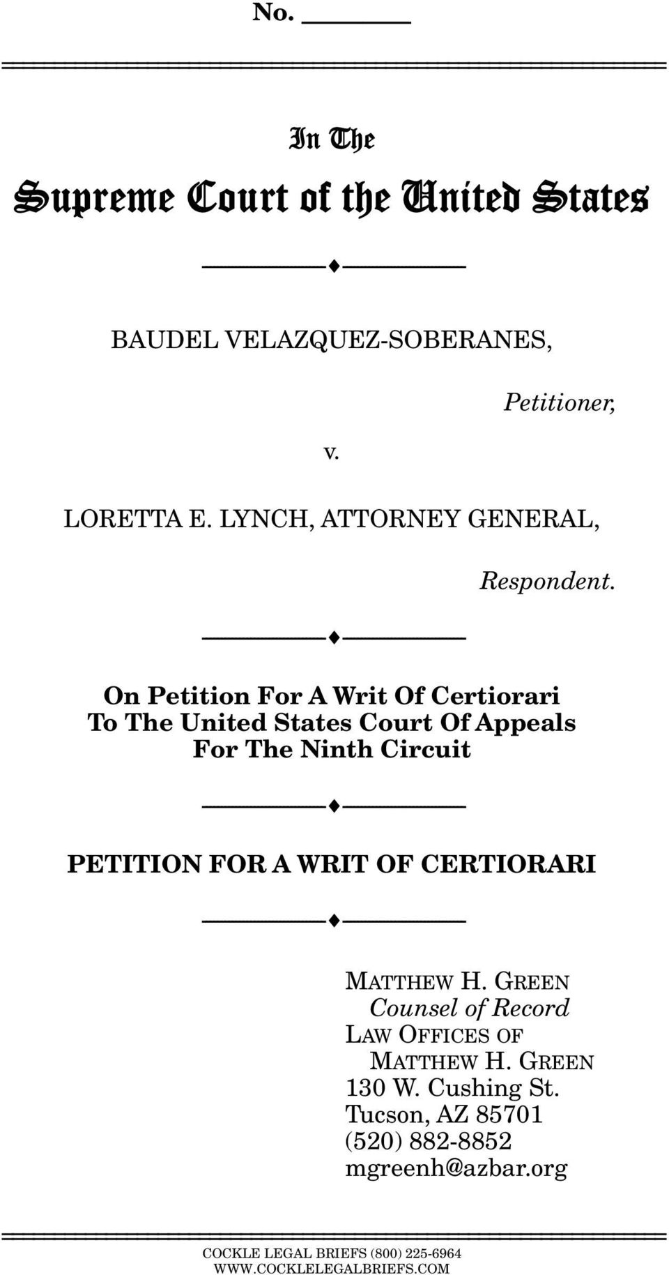 On Petition For A Writ Of Certiorari To The United States Court Of Appeals For The Ninth Circuit --------------------------------- --------------------------------- PETITION FOR A WRIT OF CERTIORARI