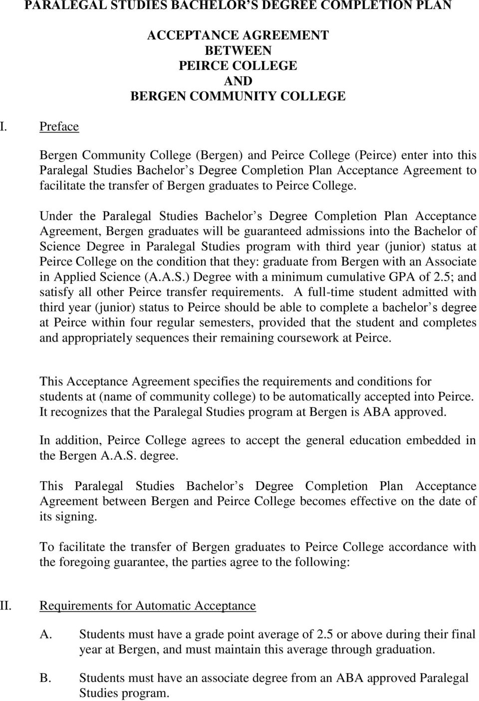 Completion Plan Acceptance Agreement to facilitate the transfer of Bergen graduates to Peirce College.