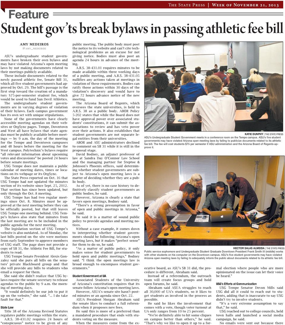 These include documents related to the newly passed athletic fee, Senate Bill 31, which all five student governments had approved by Oct. 29.