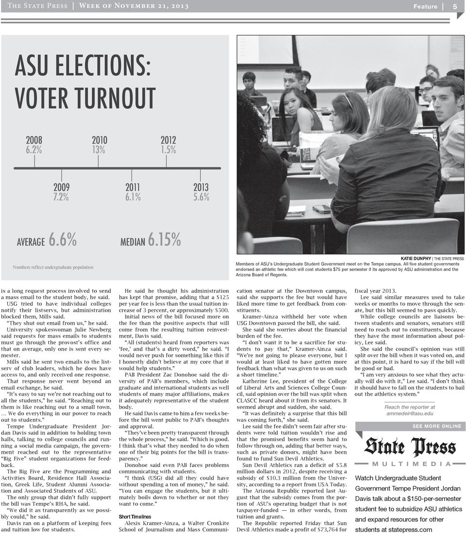 All five student governments endorsed an athletic fee which will cost students $75 per semester if its approved by ASU administration and the Arizona Board of Regents.