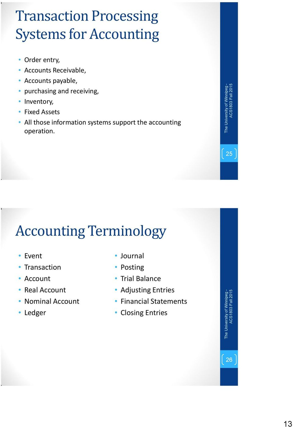 accounting operation.
