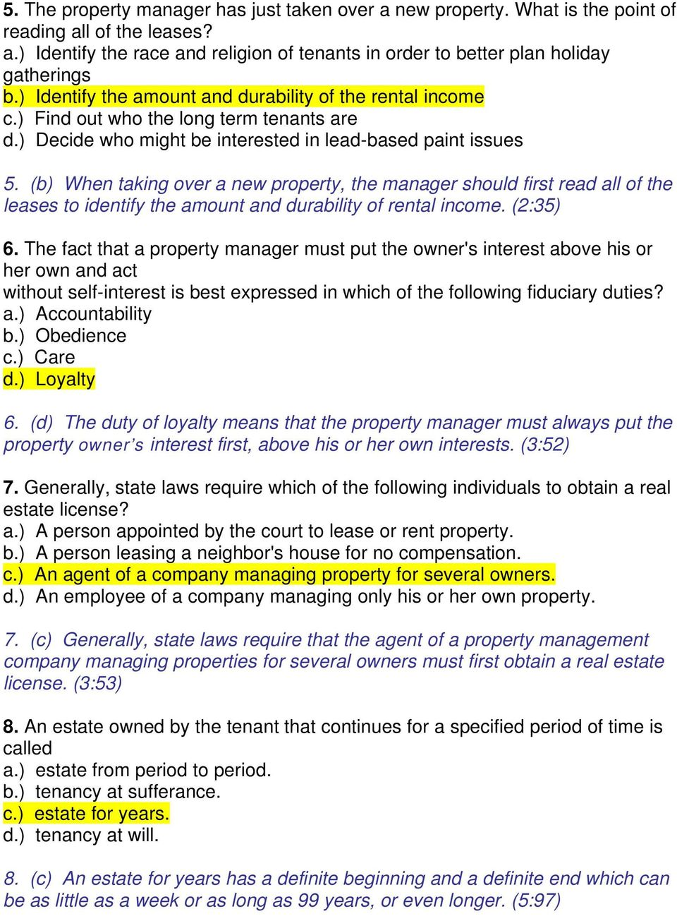 professional property management trec pdf b when taking over a new property the manager should first all