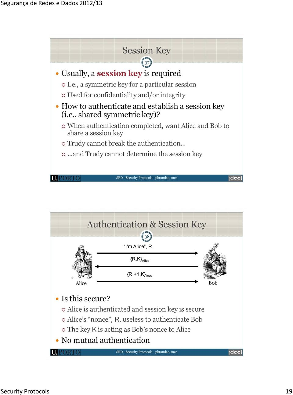 When authentication completed, want Alice and Bob to share a session key Trudy cannot break the authentication and Trudy cannot determine the session key 37