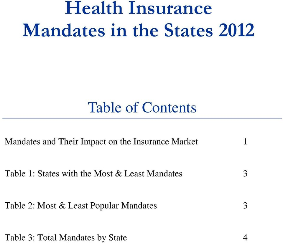 1 Table 1: States with the Most & Least Mandates 3 Table 2: