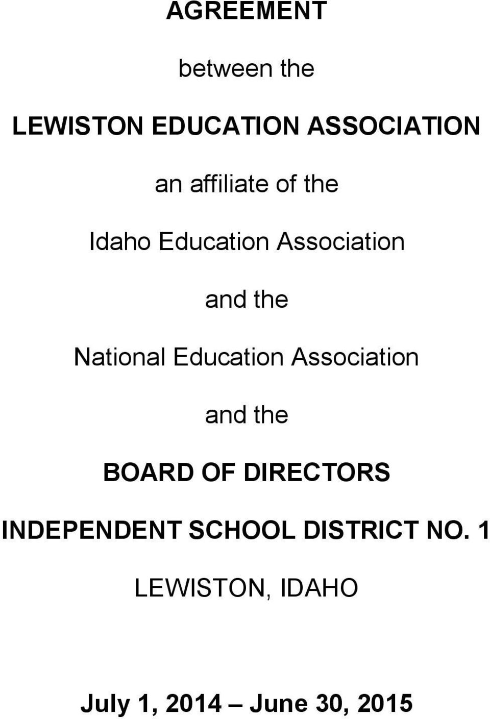 National Education Association and the BOARD OF DIRECTORS
