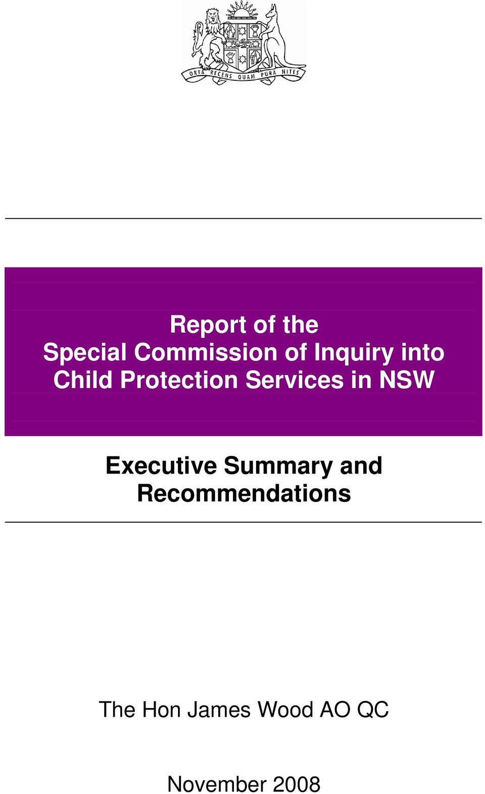 in NSW Executive Summary and