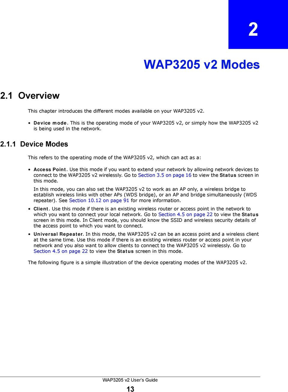 1 Device Modes This refers to the operating mode of the WAP3205 v2, which can act as a: Access Point.