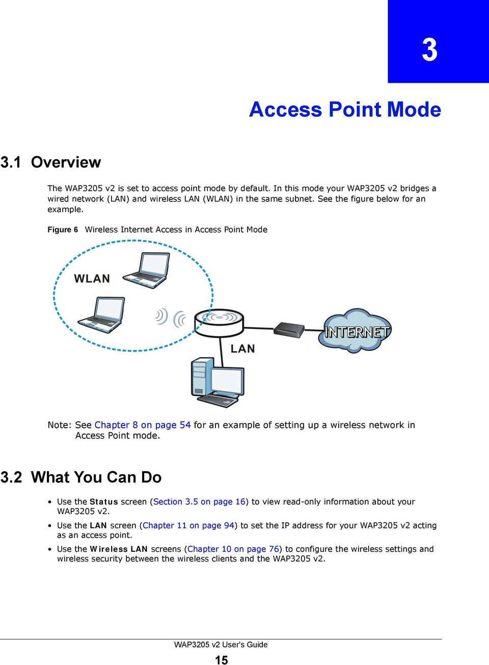 Figure 6 Wireless Internet Access in Access Point Mode Note: See Chapter 8 on page 54 for an example of setting up a wireless network in Access Point mode. 3.