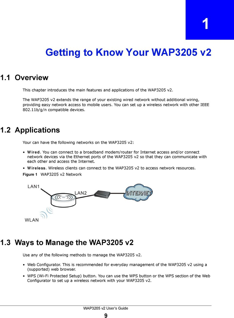 11b/g/n compatible devices. 1.2 Applications Your can have the following networks on the WAP3205 v2: Wired.