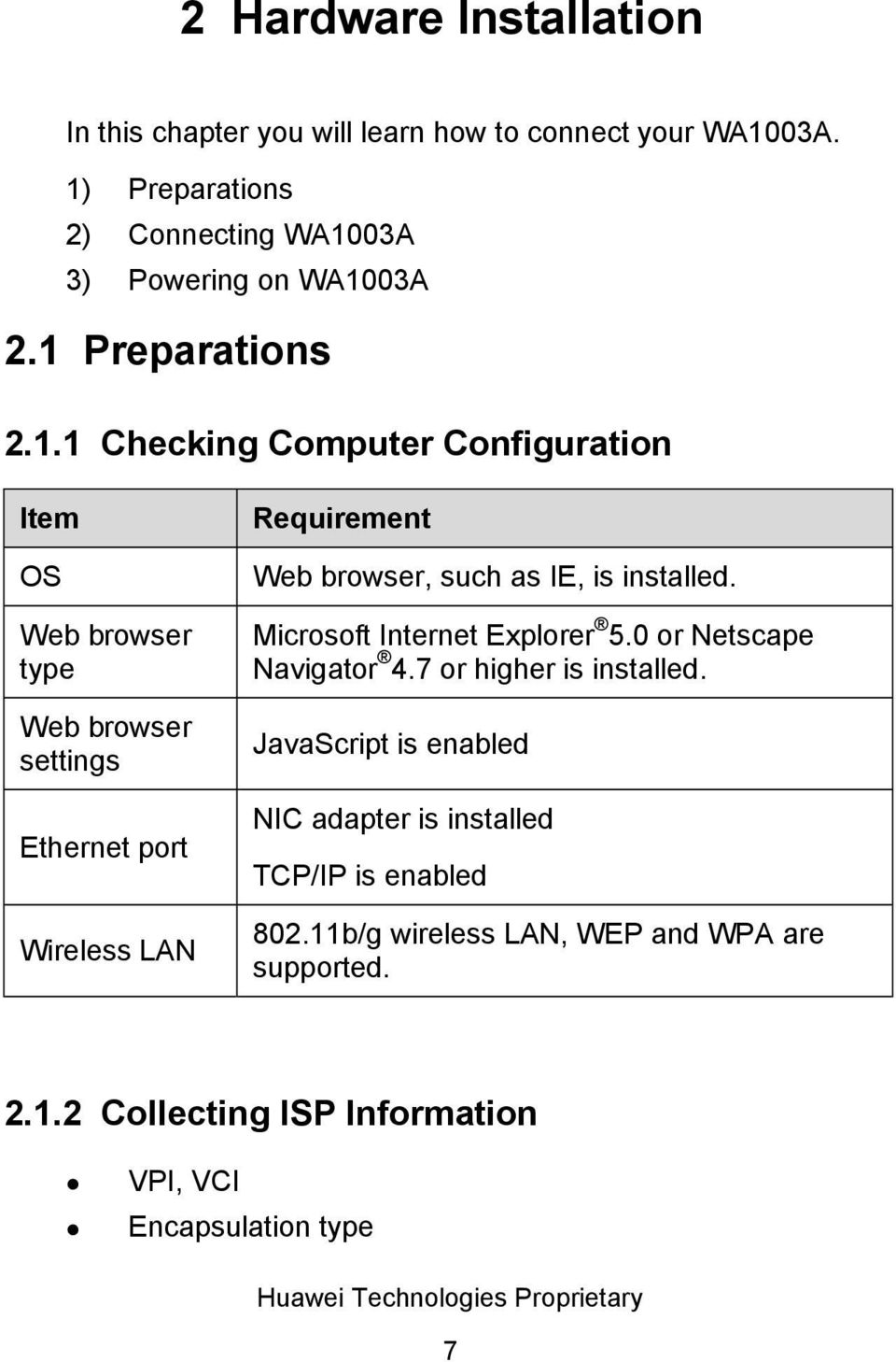 browser settings Ethernet port Wireless LAN Requirement Web browser, such as IE, is installed. Microsoft Internet Explorer 5.