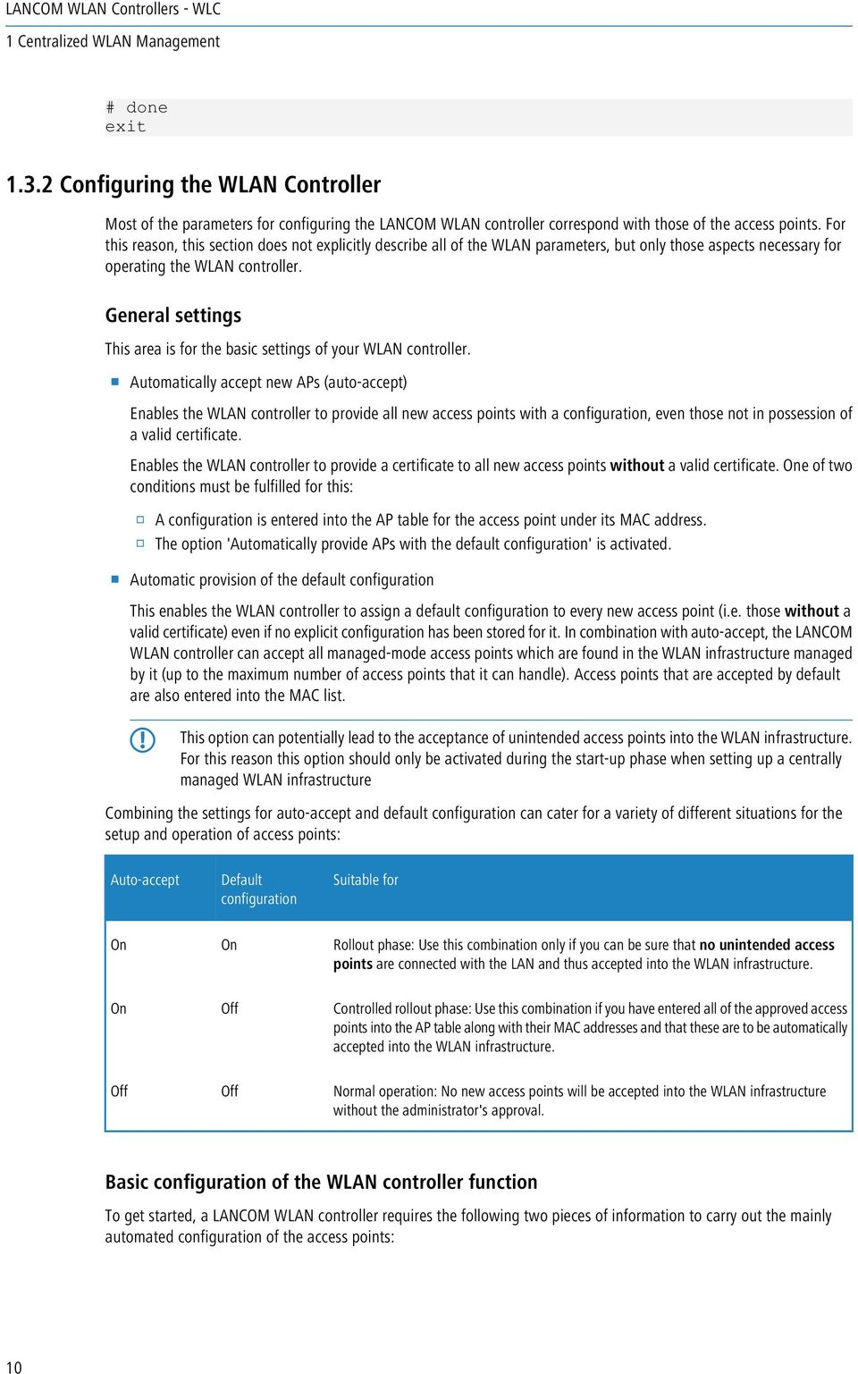 General settings This area is for the basic settings of your WLAN controller.