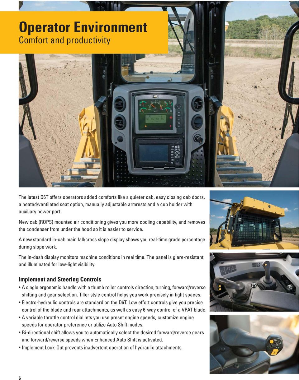 A new standard in-cab main fall/cross slope display shows you real-time grade percentage during slope work. The in-dash display monitors machine conditions in real time.