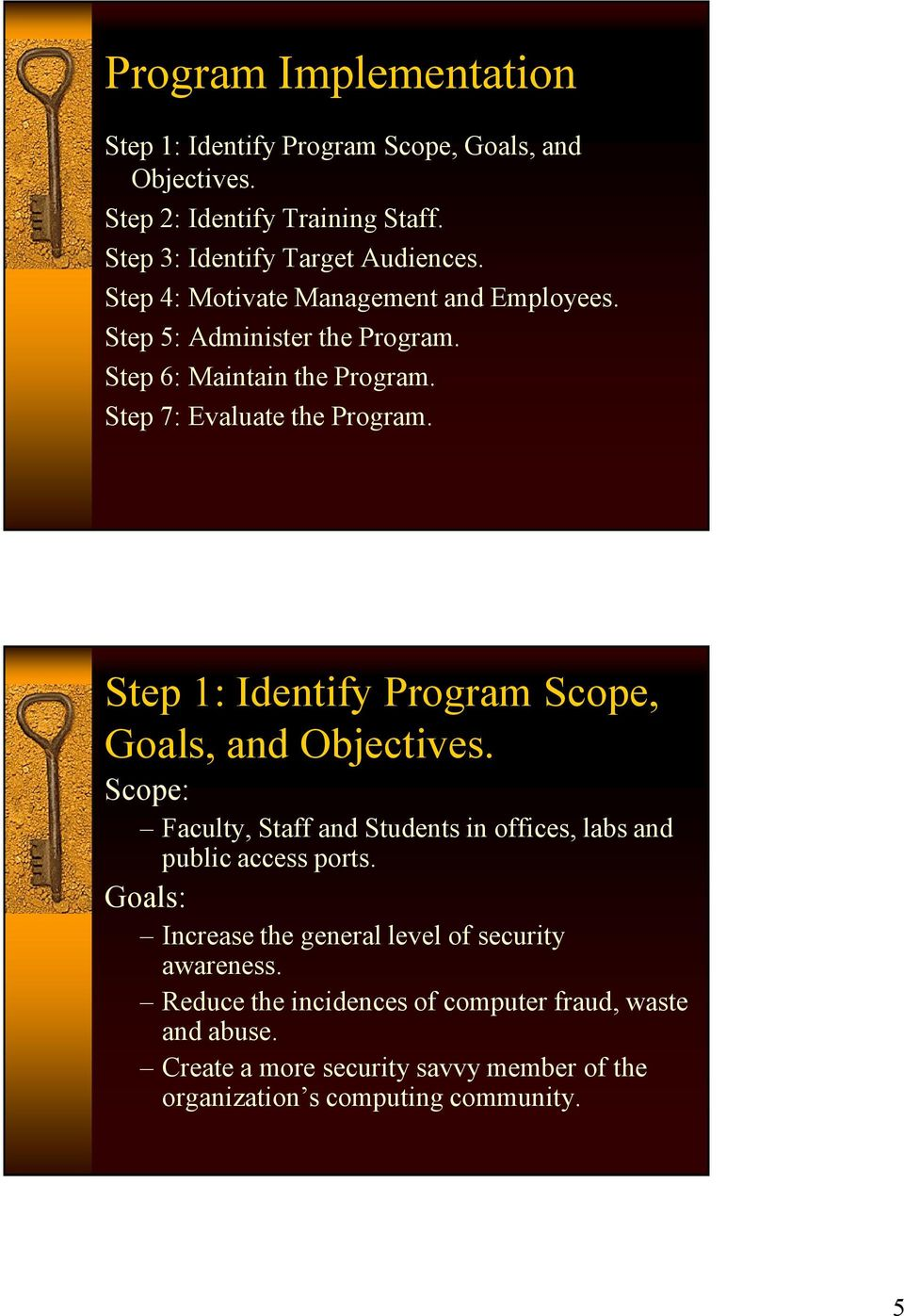 Step 1: Identify Program Scope, Goals, and Objectives. Scope: Faculty, Staff and Students in offices, labs and public access ports.