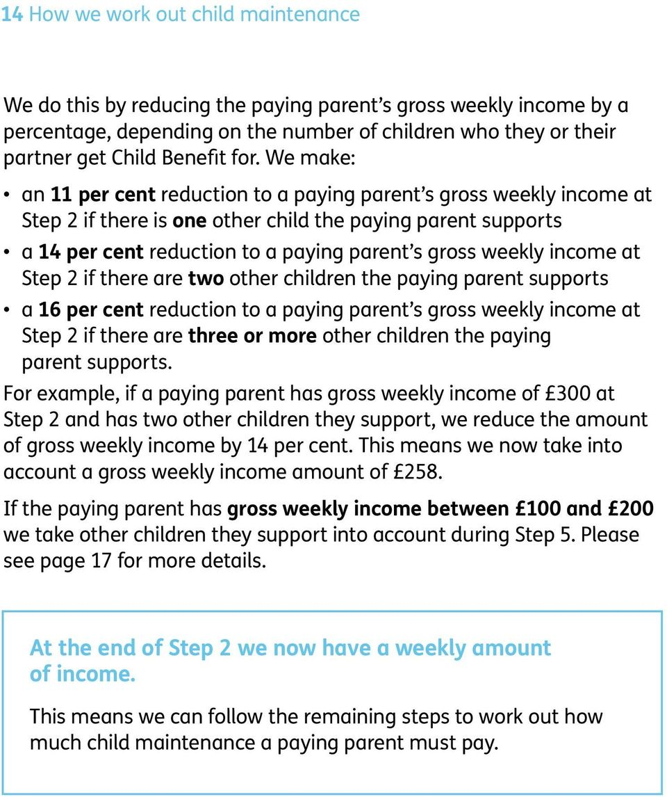 weekly income at Step 2 if there are two other children the paying parent supports a 16 per cent reduction to a paying parent s gross weekly income at Step 2 if there are three or more other children