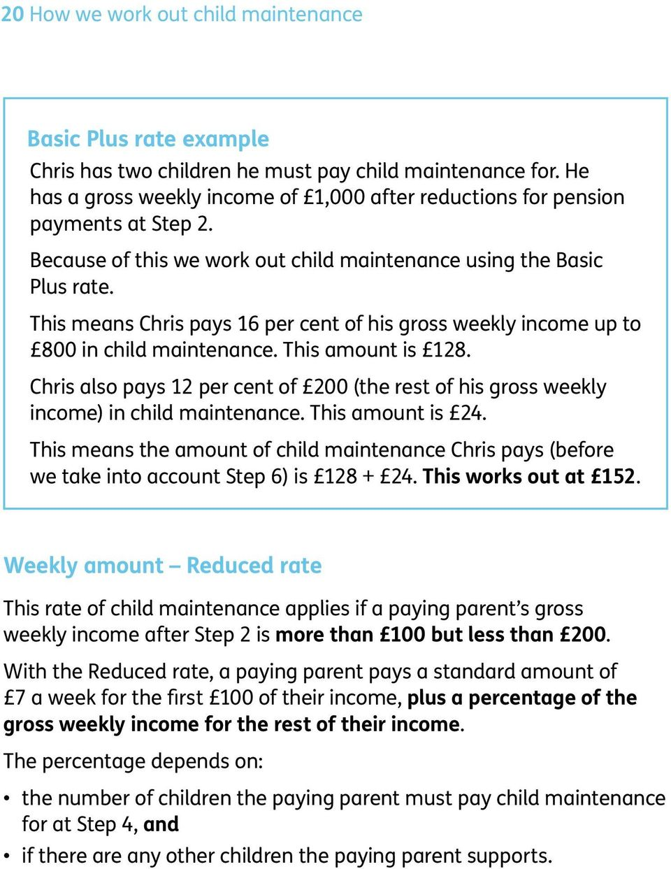 This means Chris pays 16 per cent of his gross weekly income up to 800 in child maintenance. This amount is 128.