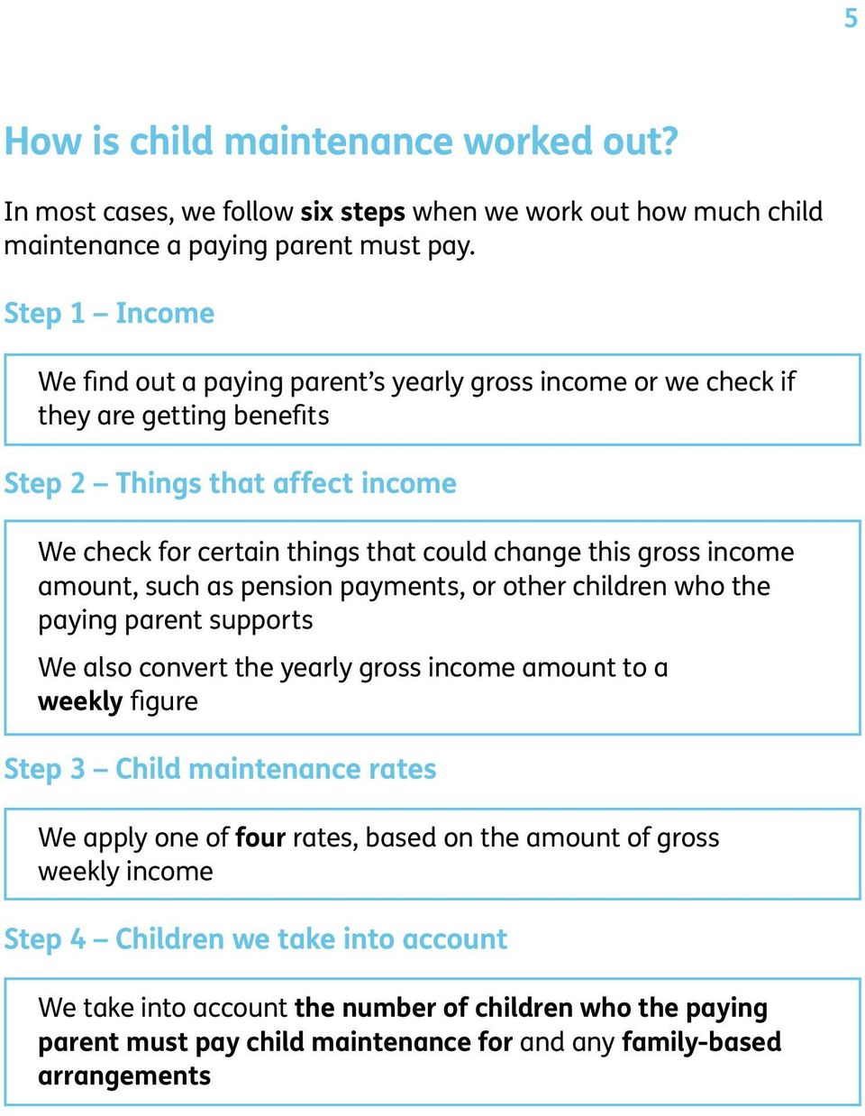 gross income amount, such as pension payments, or other children who the paying parent supports We also convert the yearly gross income amount to a weekly figure Step 3 Child maintenance