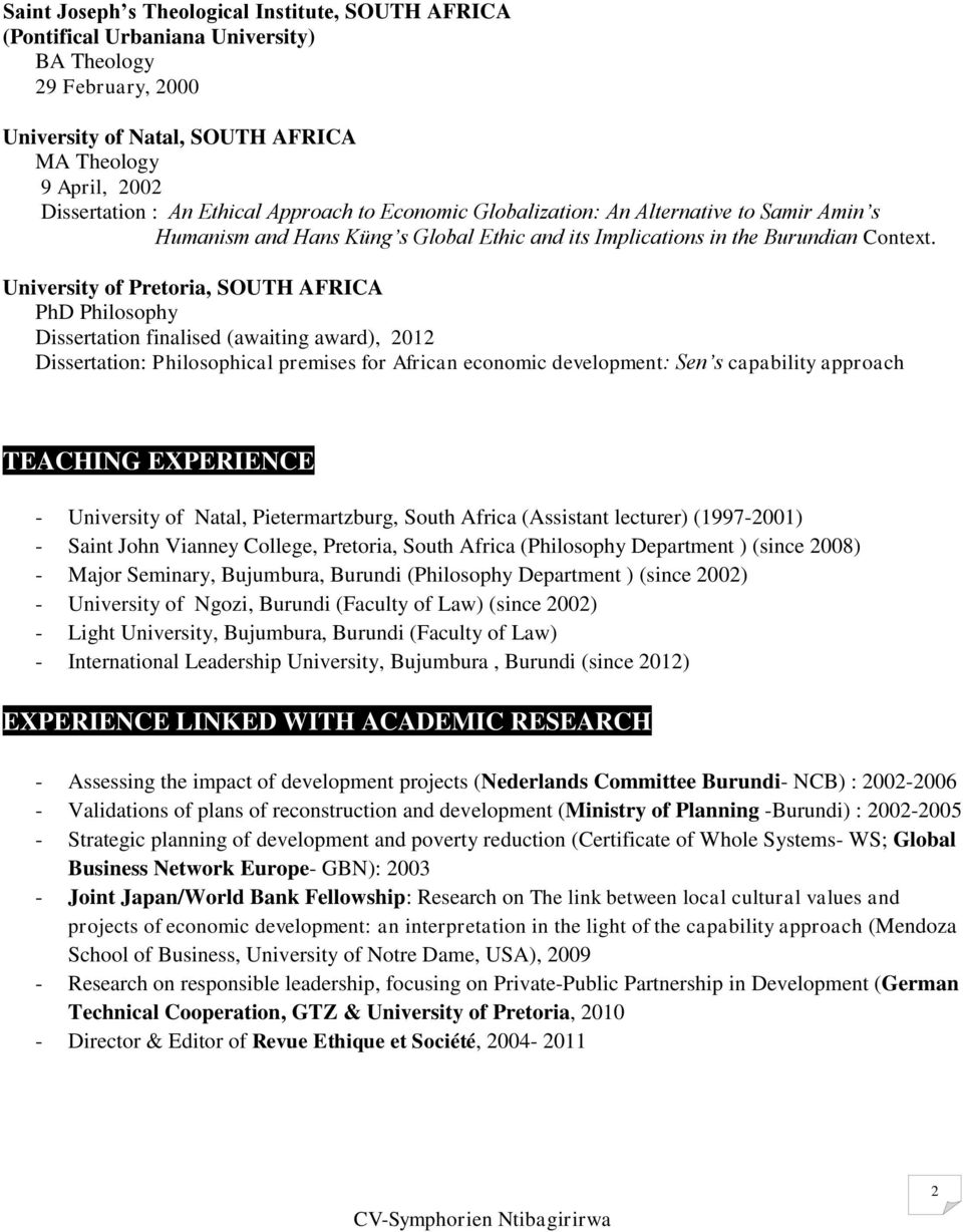 Dissertation Chair Cv