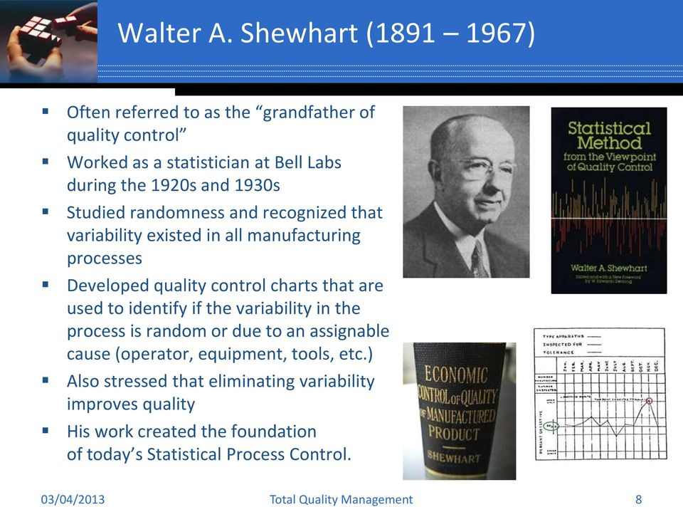 1930s Studied randomness and recognized that variability existed in all manufacturing processes Developed quality control charts that