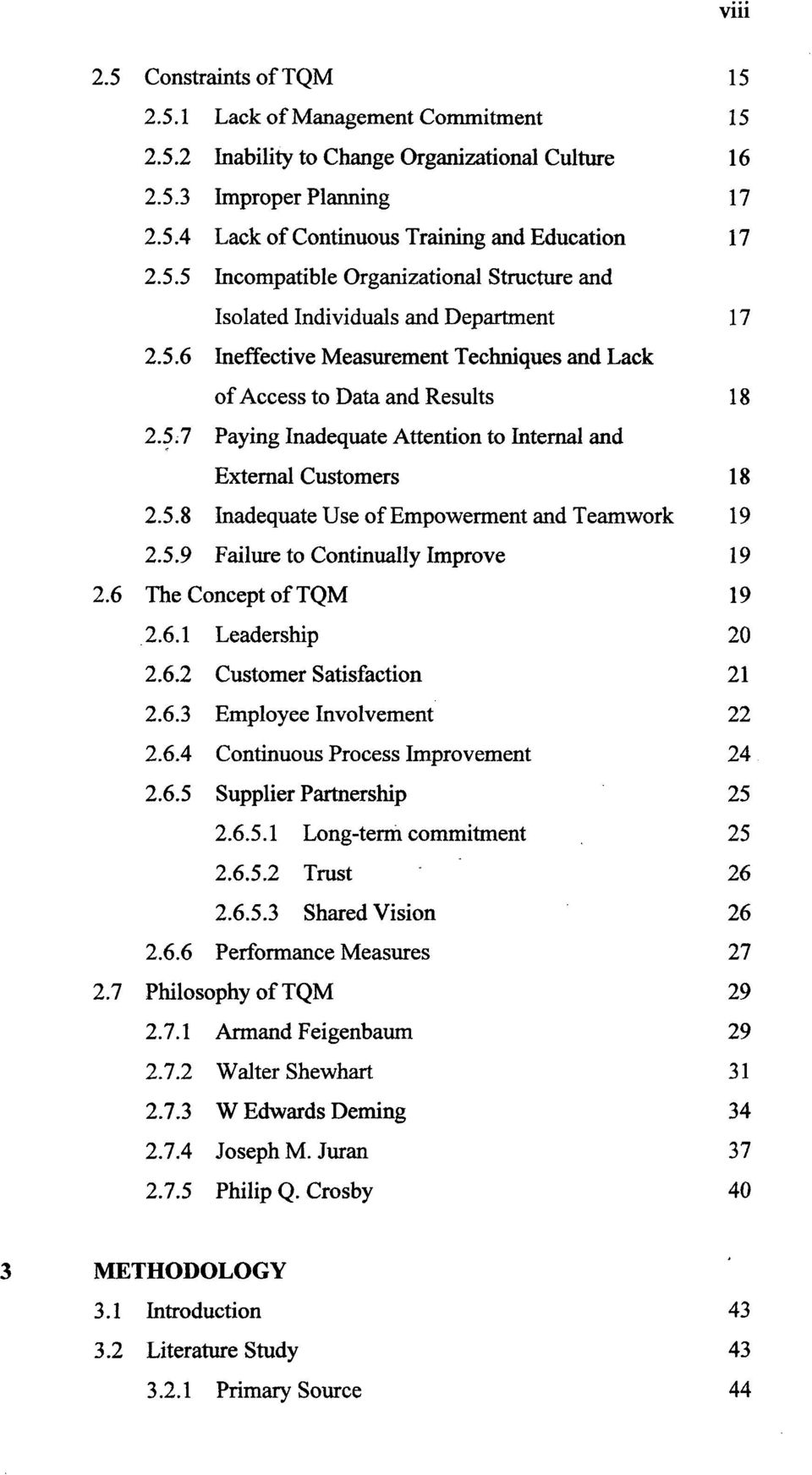 thesis related to total quality management