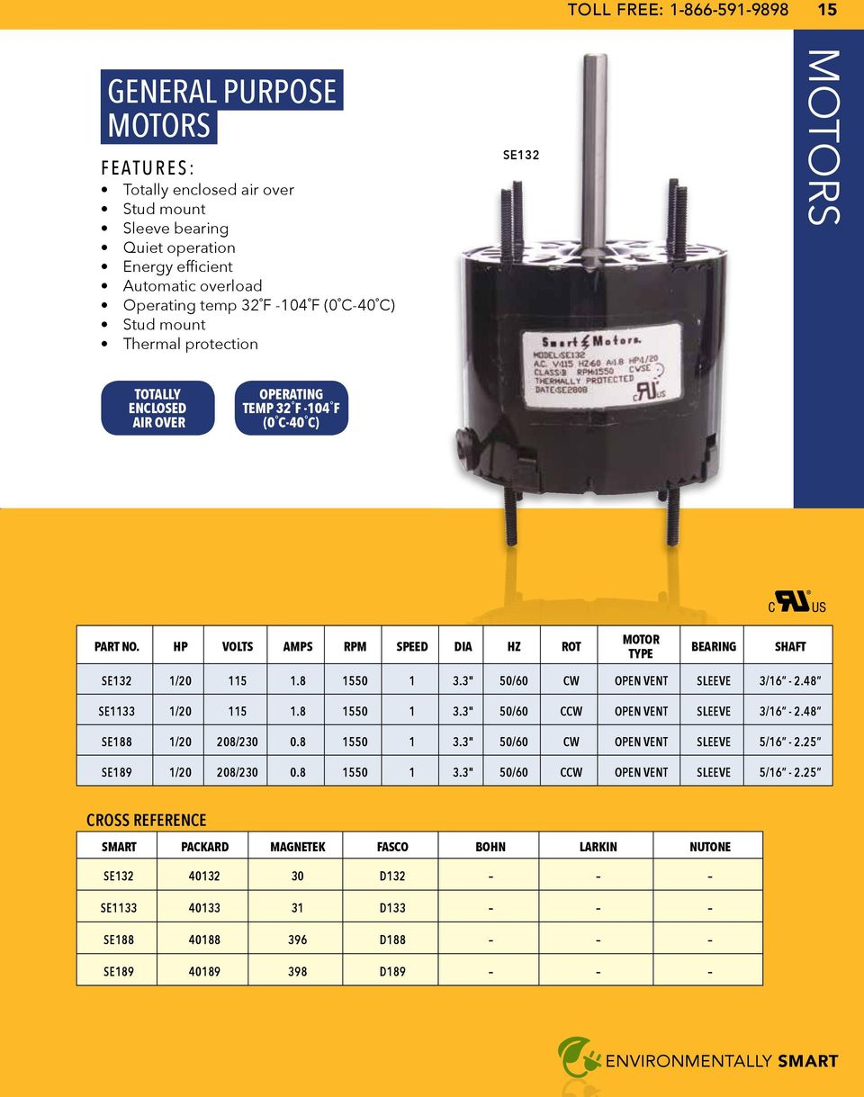 Smart electric smart electric product catalog toll free for Magnetek motors cross reference