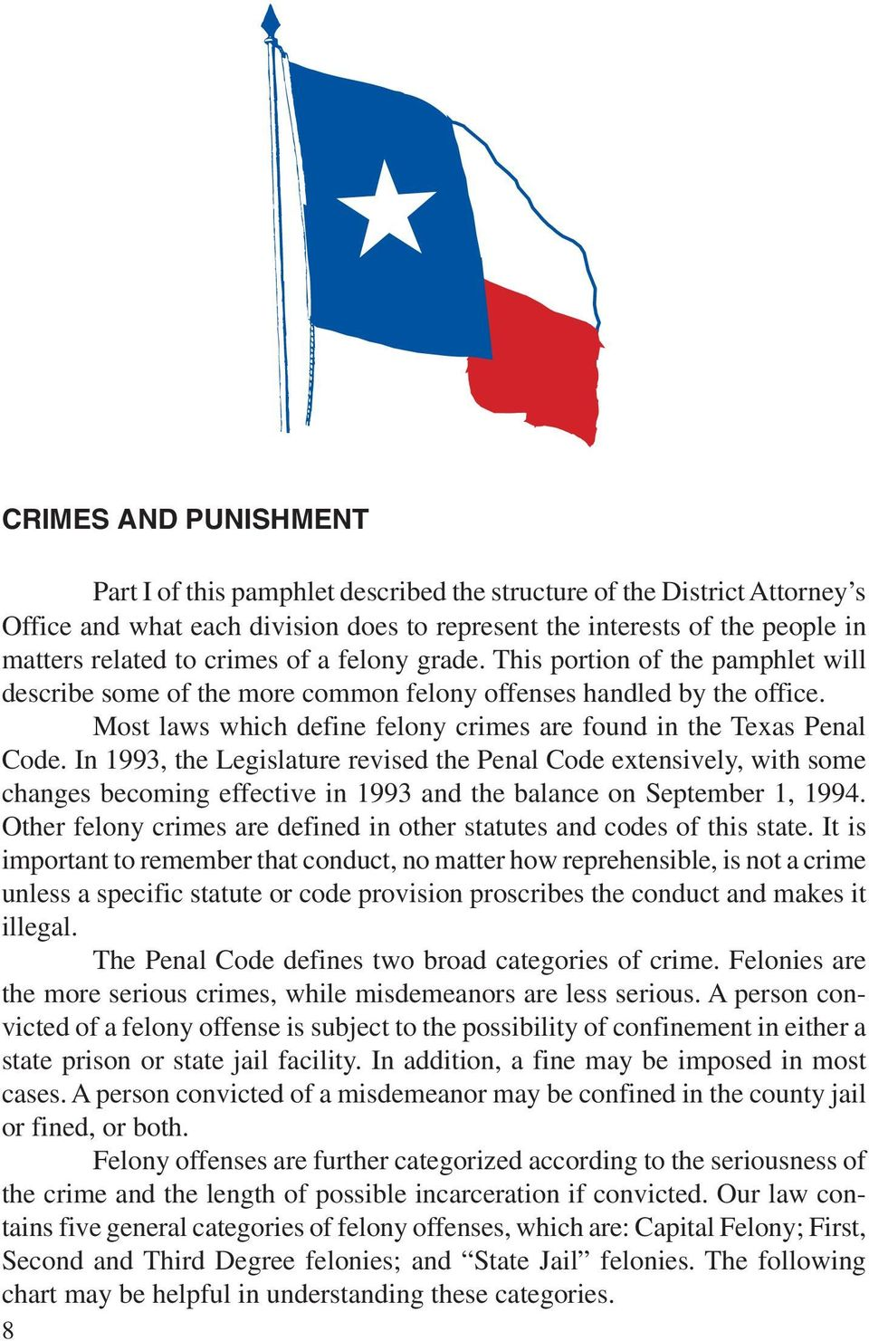 Most laws which define felony crimes are found in the Texas Penal Code.