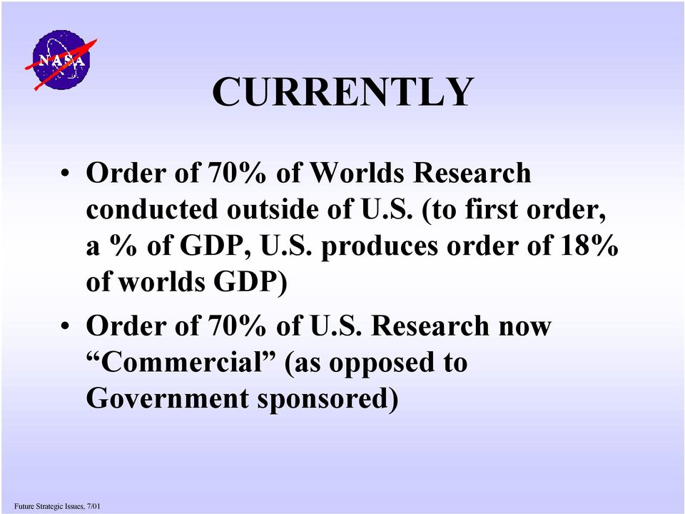 (to first order, a % of GDP, U.S.